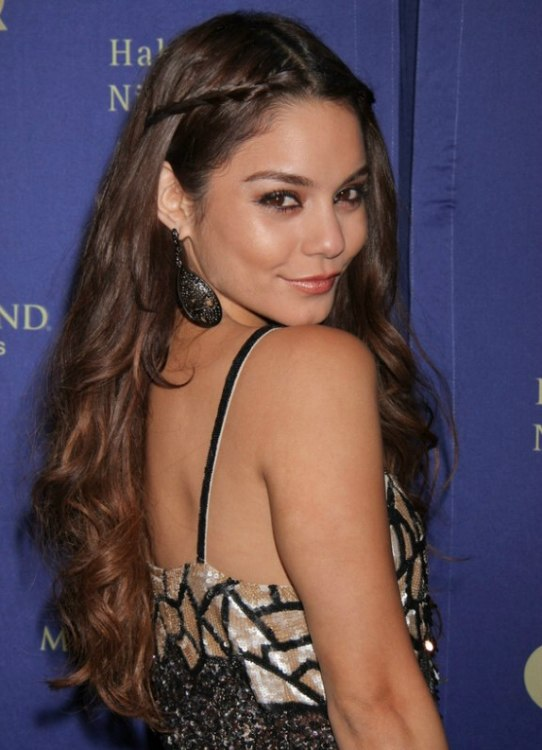 Vanessa Hudgens  Long hairstyle with braids pulled back on the sides of the head