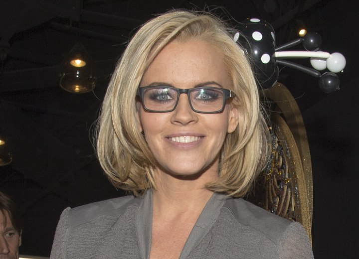 Jenny McCarthy Long Layered Bob Hairstyle And Black Framed Glasses