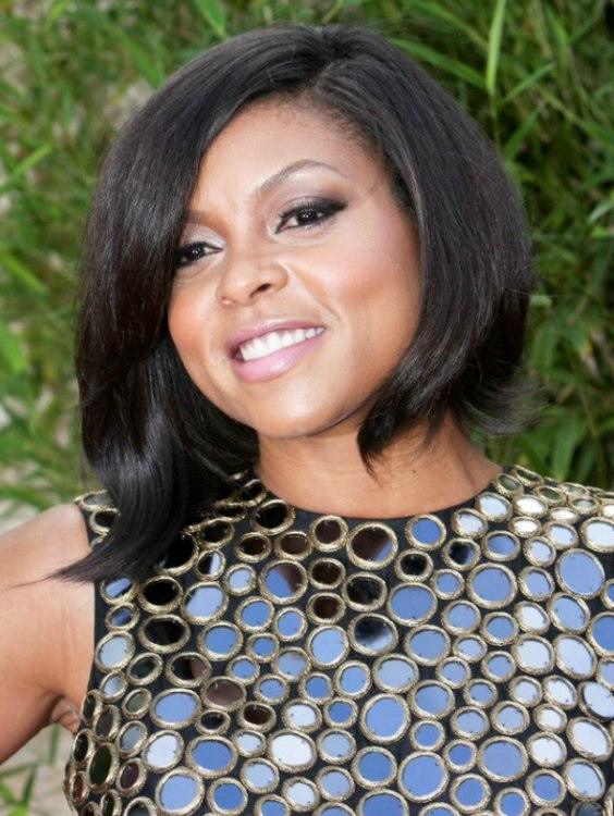 Taraji Henson  Asymmetrical plunging bob haircut for black hair
