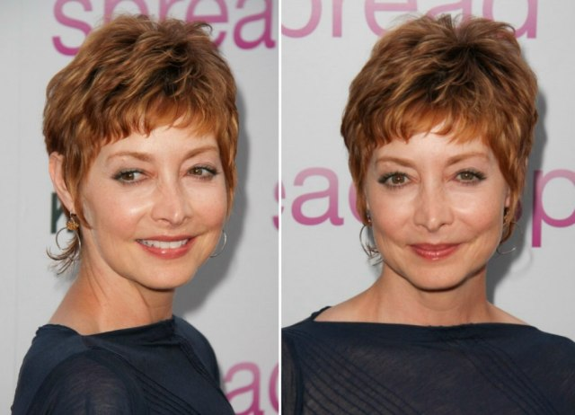 sharon lawrence's new shorter crop with a slithered fringe