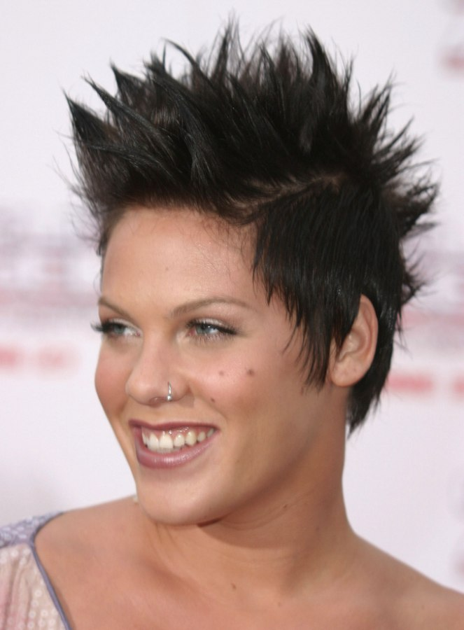 Pink Short Brown Hair In A Pixie With Spiking