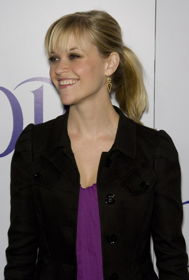 Reese Witherspoons young and fresh ponytail with straight bangs
