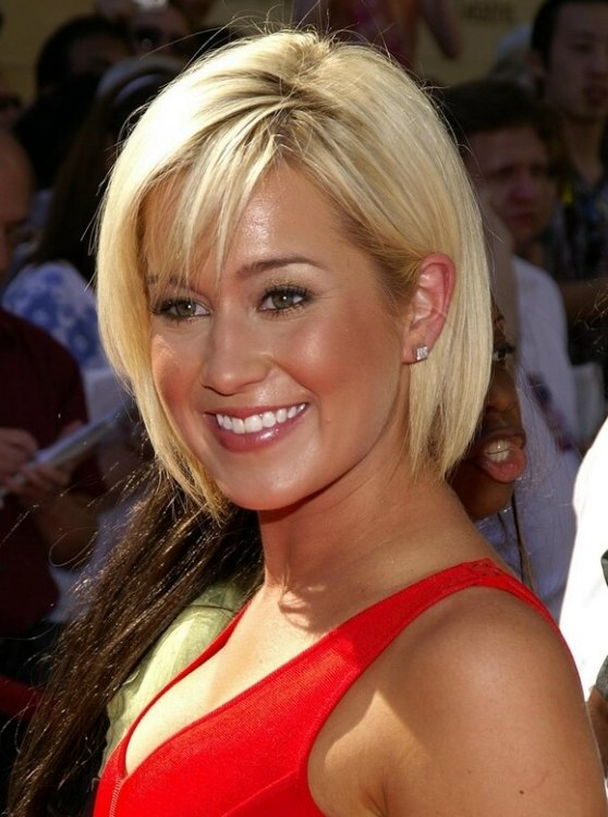 Kellie Picklers Easy Short Hair With A Fringe Hiding A