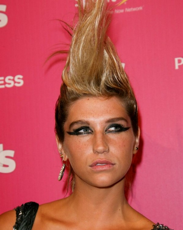 Kesha Wearing Her Hair In A Giant Mohawk Styled With Hair