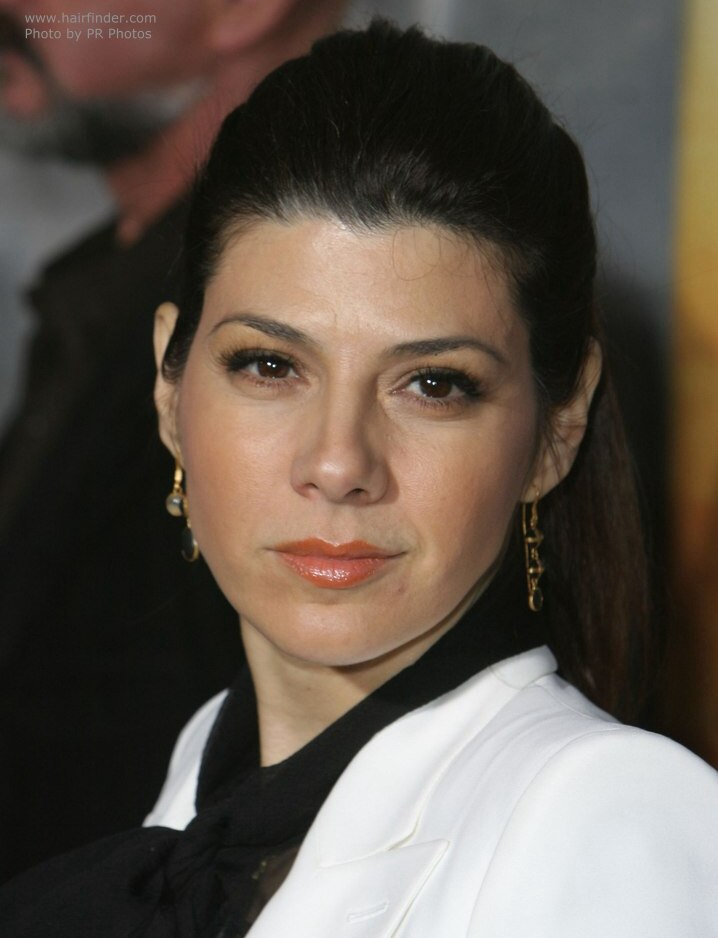 Marisa Tomei  Hairstyle with a high ponytail for a