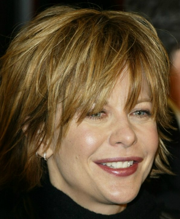 Meg Ryan Wearing Her Hair Short With Layering And Feathering