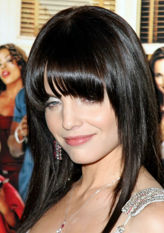 Mena Suvaris Sleek And Face Framing Long Black Hair With