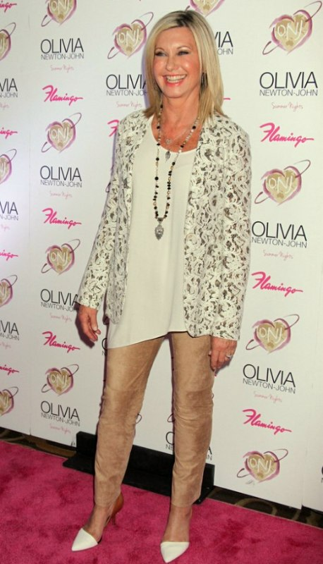 Olivia Newton John Over Age 65 And Wearing Her Hair Smooth