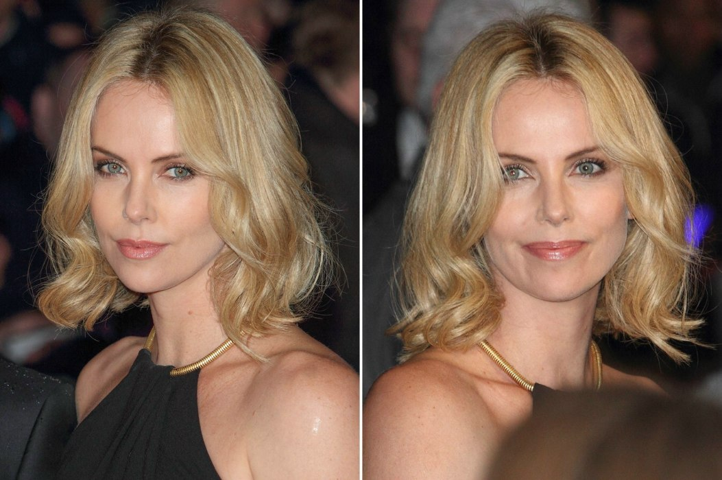 Charlize Theron Trendy Bob Haircut With Variations Of Blonde