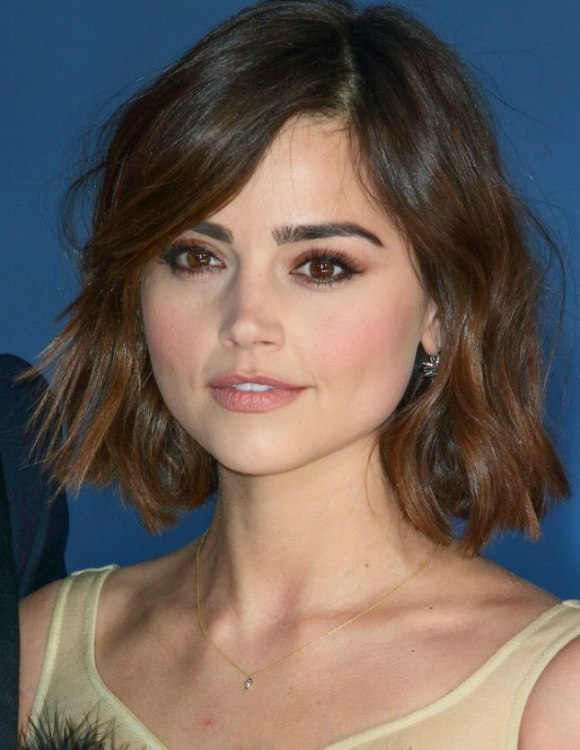 Jenna Coleman Wearing Her Hair In A Bob With Side Swooping
