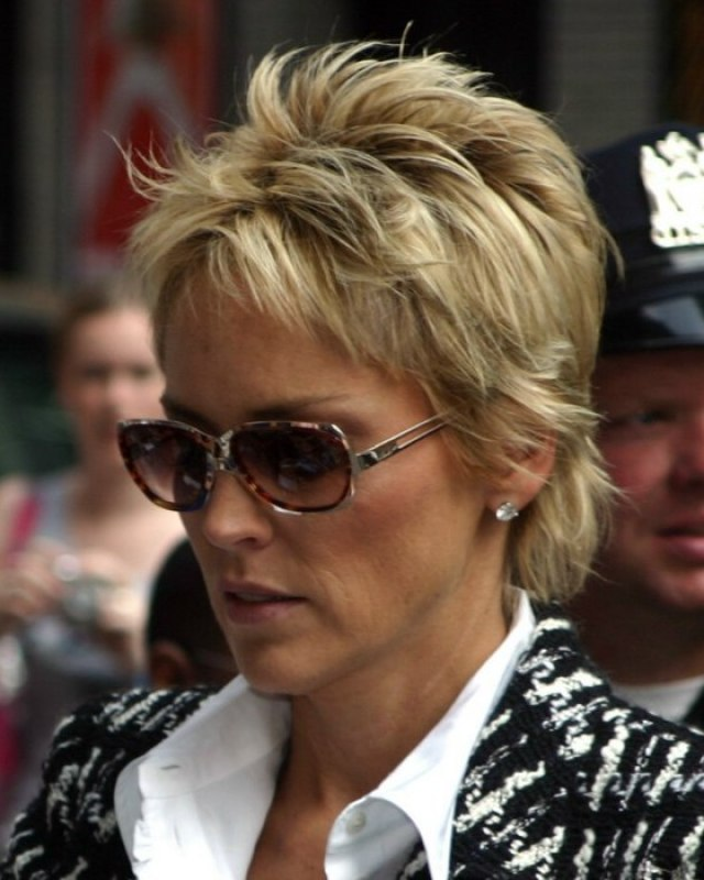 short haired sharon stone sporting an exuberant pixie