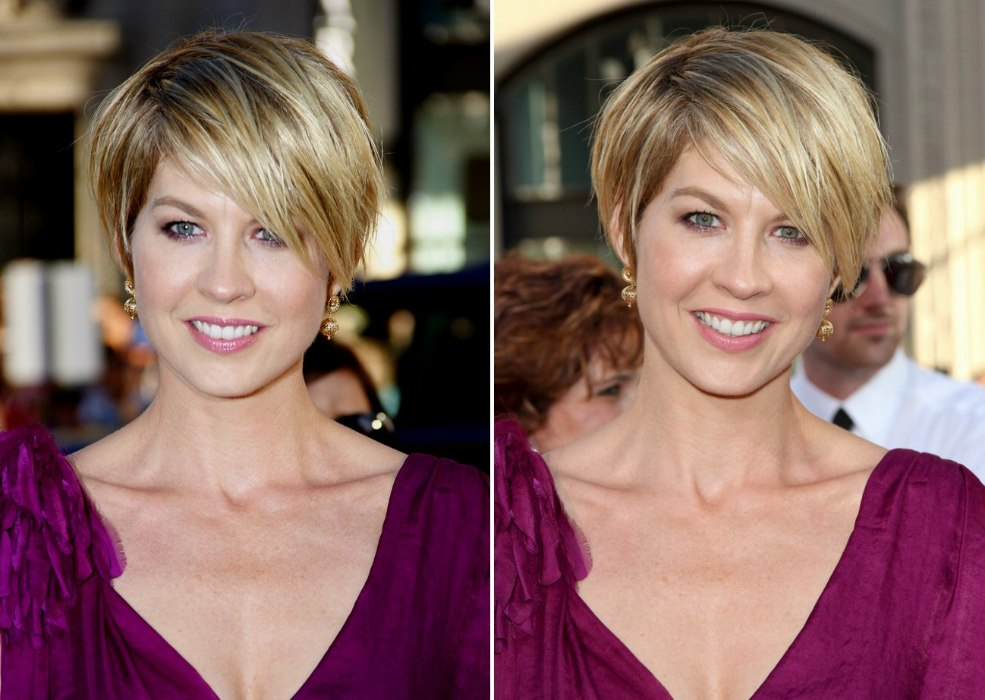 Jenna Elfmans Blonde Pixie Hairstyle With An Off Center