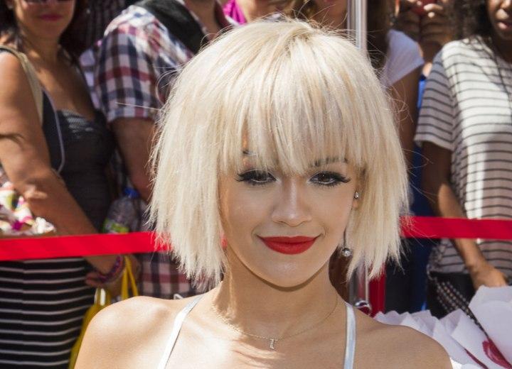 Rita Ora Platinum Blonde Hair In A Short Bob With Bangs
