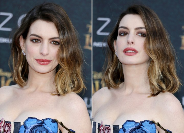 Anne Hathaways Ombr Bob Hairstyle
