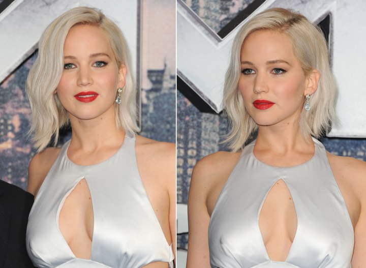 Jennifer Lawrences pale blonde bob