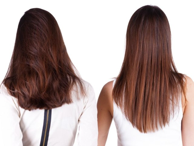 cut the back of long hair in a u-shape, v-shape or a straight line