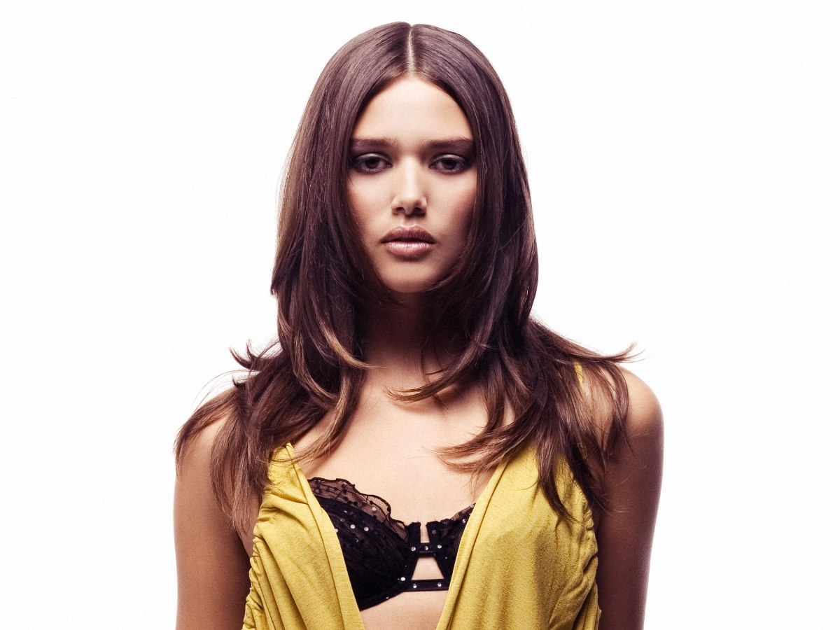 Long Sleek Bra Length Hairstyle With Layers And The Divide