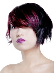 layered short bob with colorful