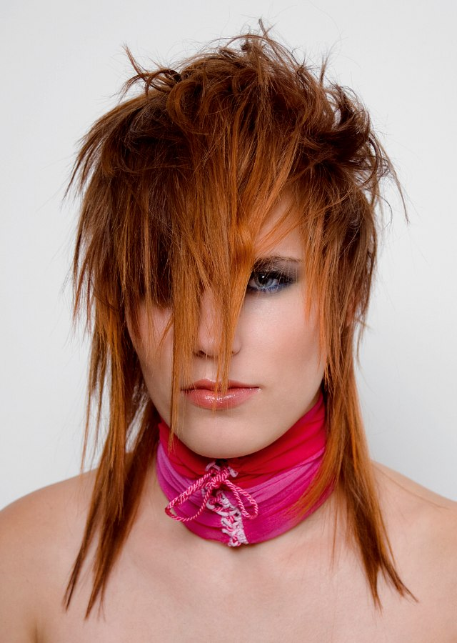Punky Hairstyle With Forward Into The Face Styling
