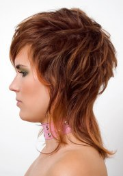 side view of shag hairstyle