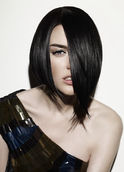 Fashion bob hairstyle with an asymmetrical shape and a short neck