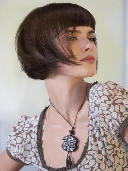 Smooth Shimmering And Swinging Short Bob With Full Bangs