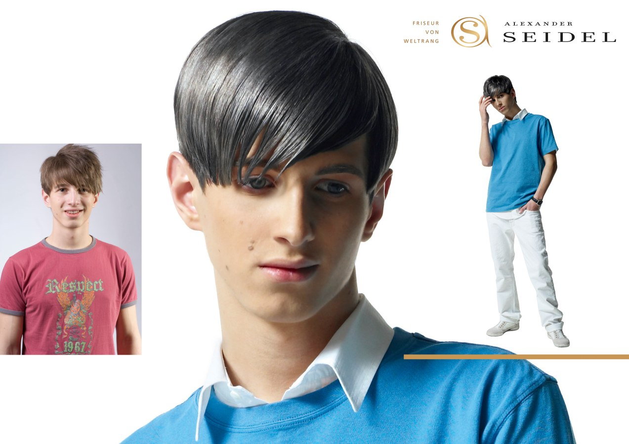 Mens Haircut With Coloring For A Metallic Steel Effect