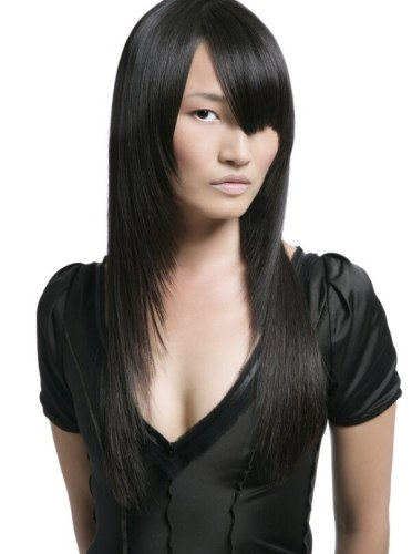 Celebrity Long Angled Haircut With Side Swept Bangs