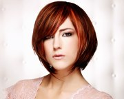 modern short bob haircut with strands