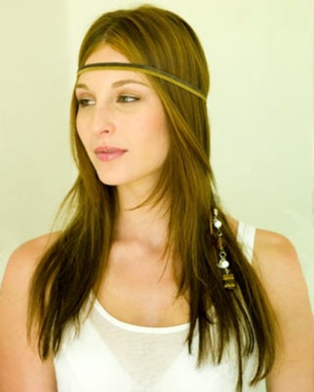leather ribbon accross forehead