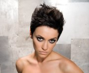 spiky short hairstyle with close