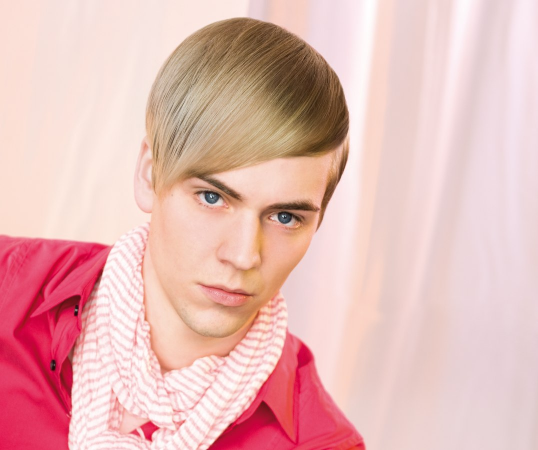 Sleek Mens Haircut With Long Drop Shaped Bangs And A