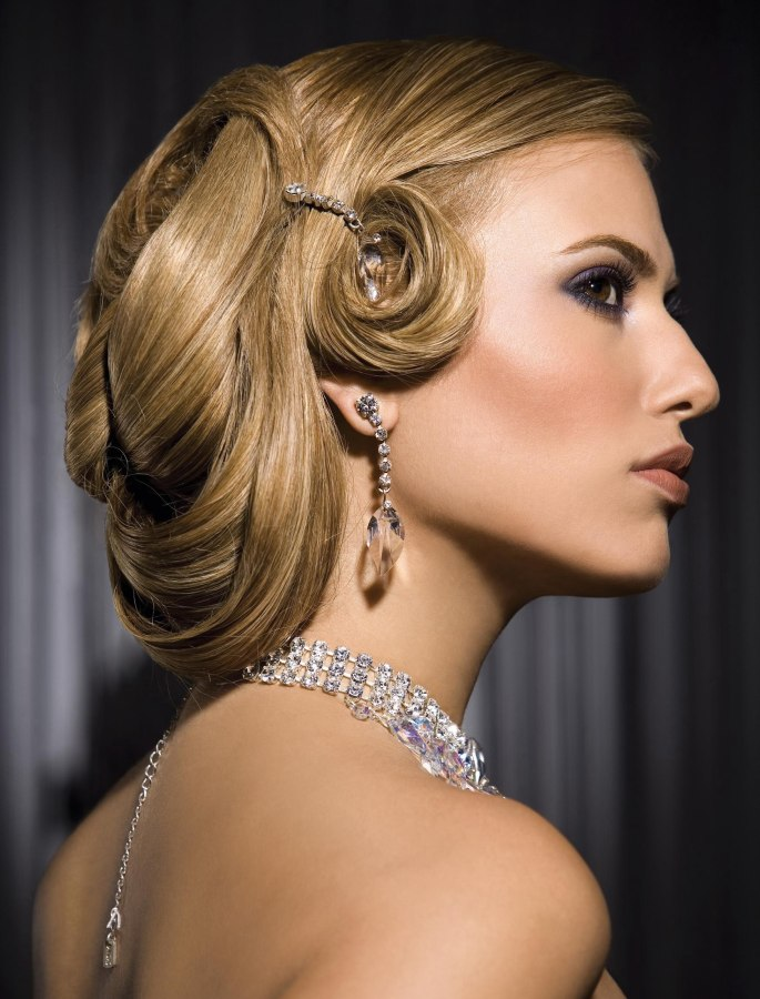 Up Style With Pin Curls Reminiscent Of The Snood Hairstyle