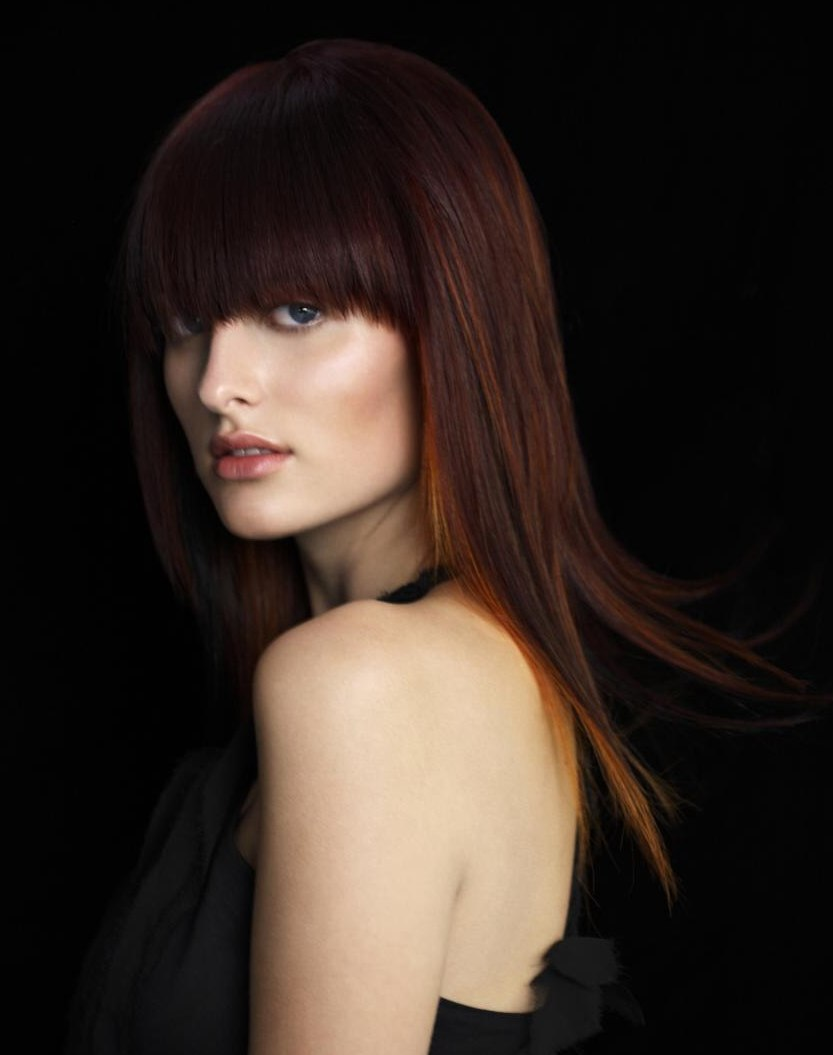 Feminine style for long hair with a giant fringe and