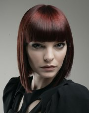 trendy bob hairstyle with red