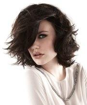 flattering semi long brunette hairstyle