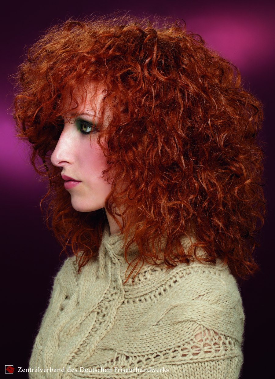 Curly Medium Long Copper Hair With A Perm
