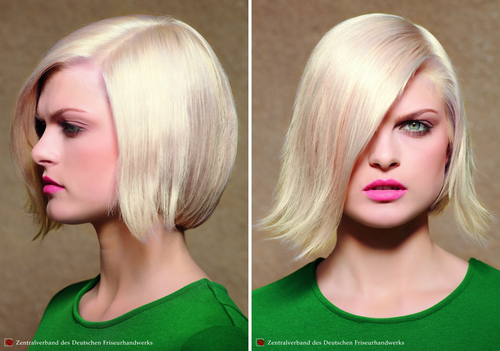 Rounded chin length bob hairstyle with the front curved