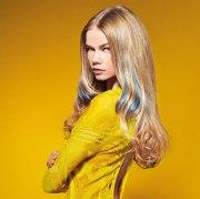 long blonde hair with blue streaks
