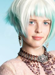 line bob hairstyle with high