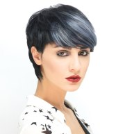 short black hair with silver highlights