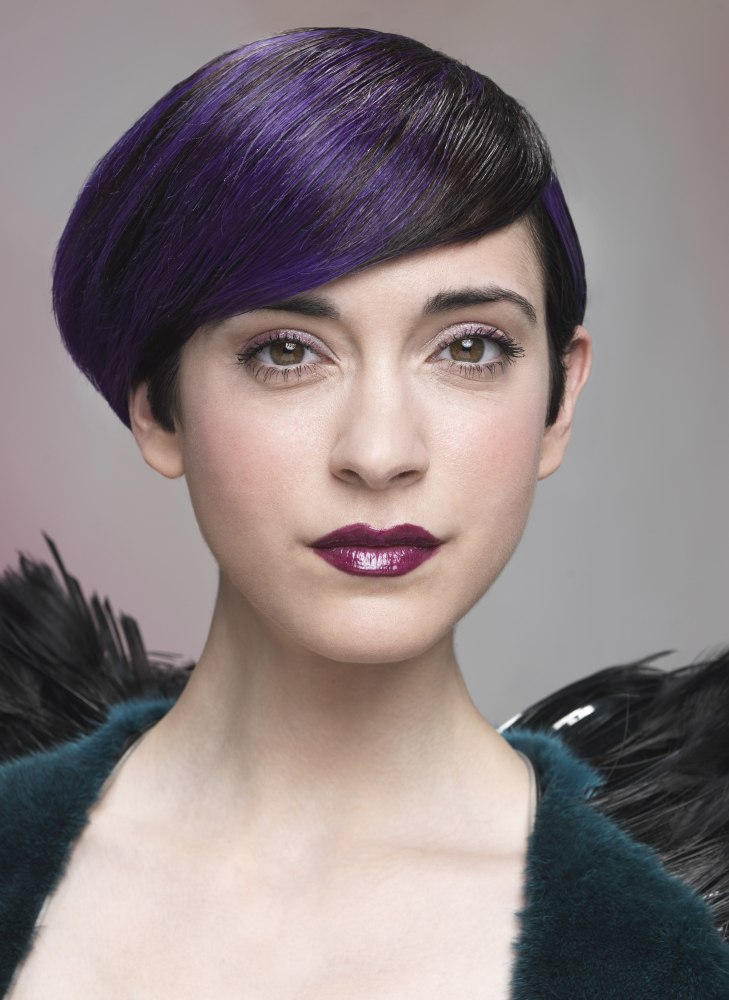 Short Asymmetrical Bob With A Marbled Transition Of Purple