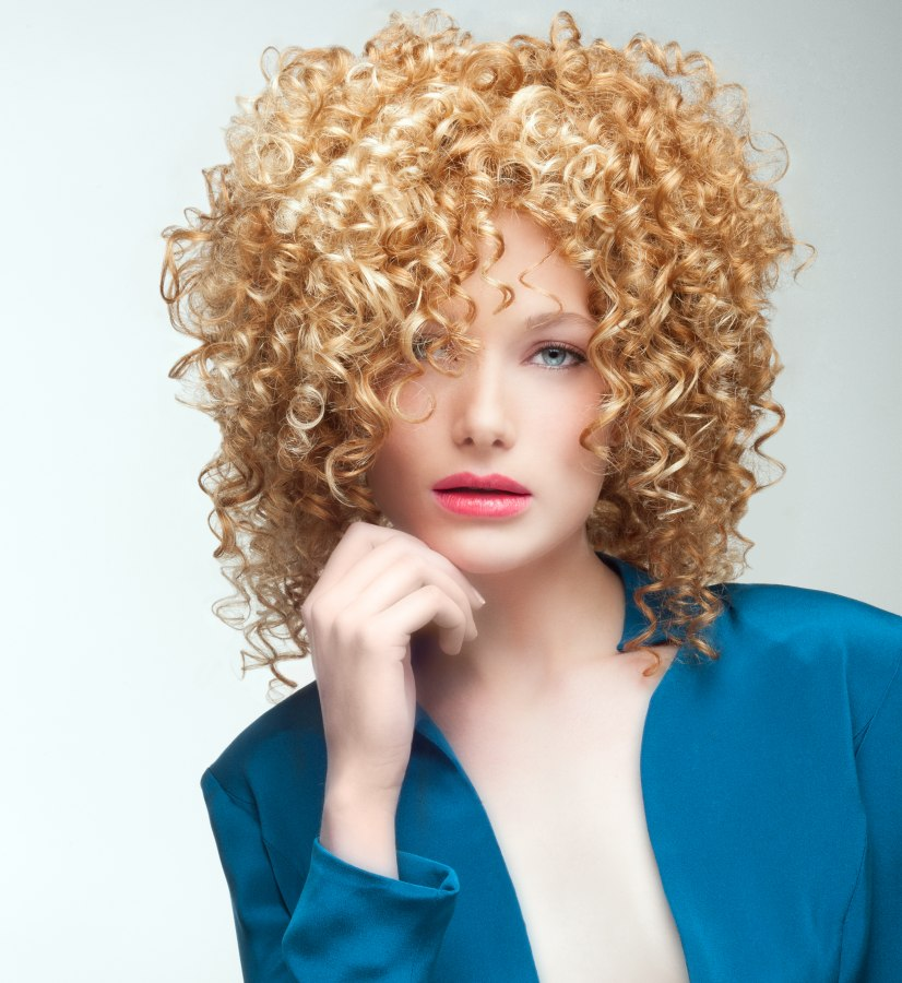 Shoulder length hair with spirals and corkscrew curls