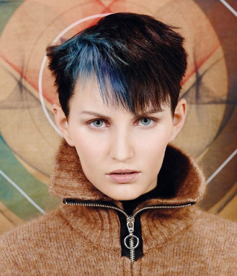 Short Dark Brown Hair With Phthalo Blue Streaks