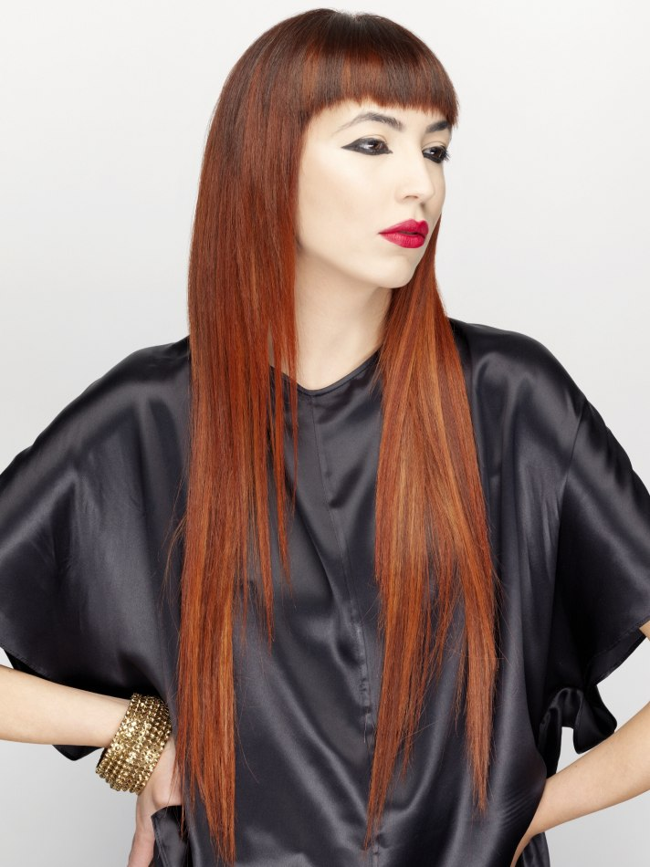 Super long hair with very short bangs  Redhead