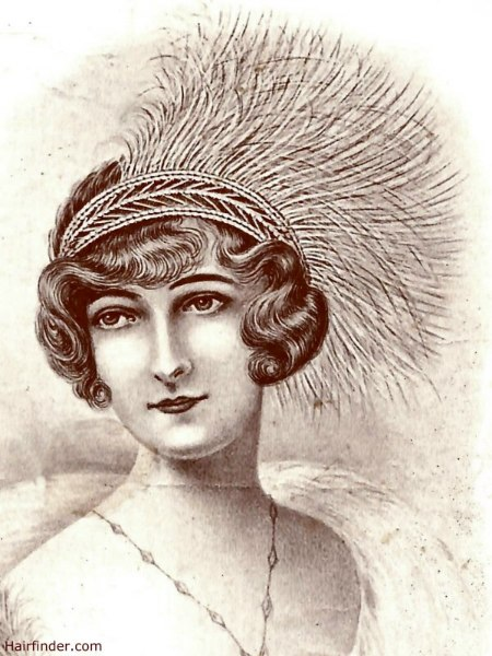 Gatsby Hairstyle With A Feathered Headdress And A Flipped Fringe