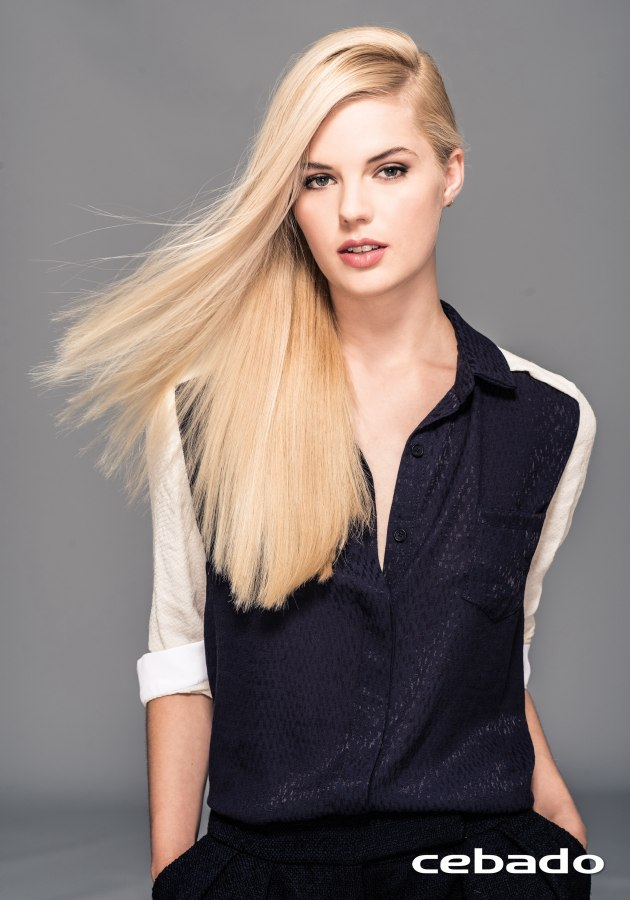 Long and silky smooth blonde hair