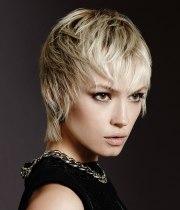 short blonde hair falls