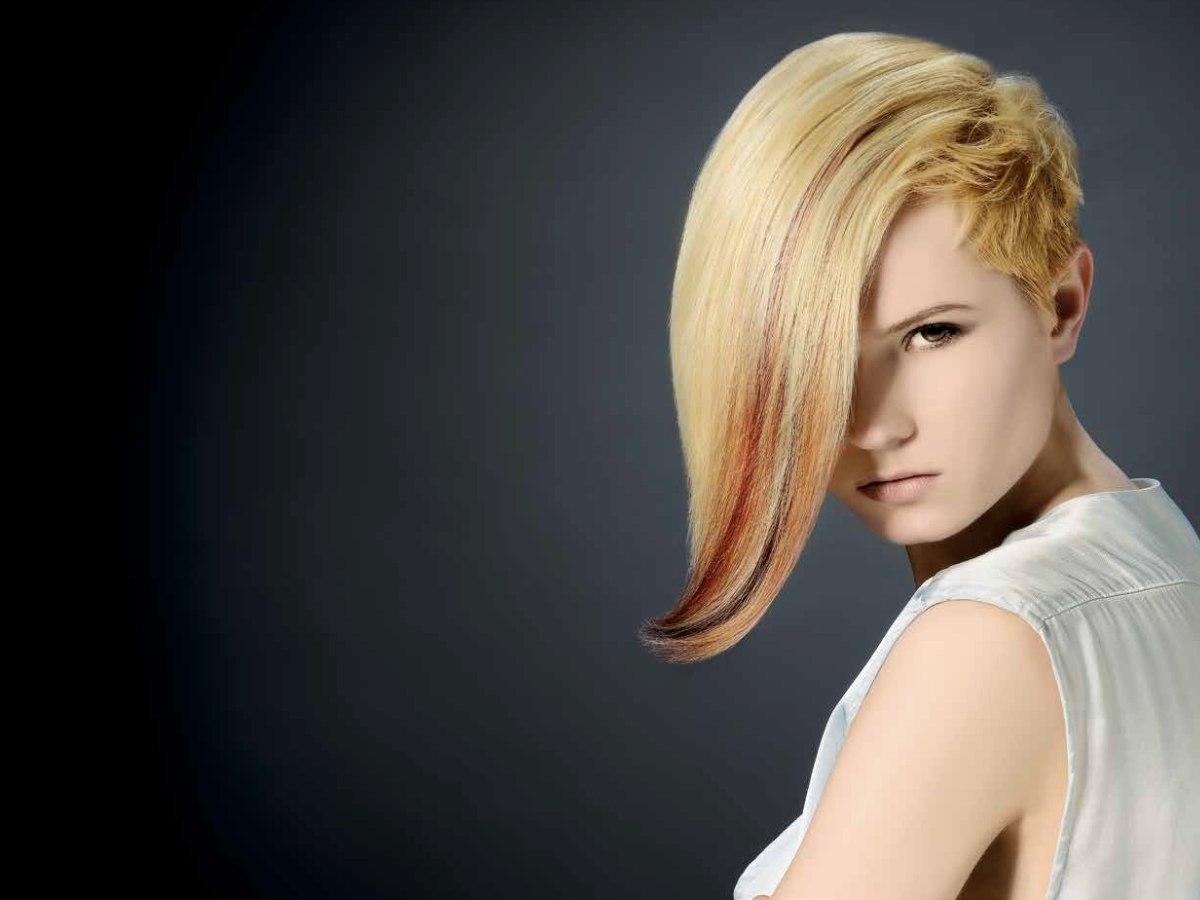 Half Bob Hairstyle With Extreme Chopping And Different Hues