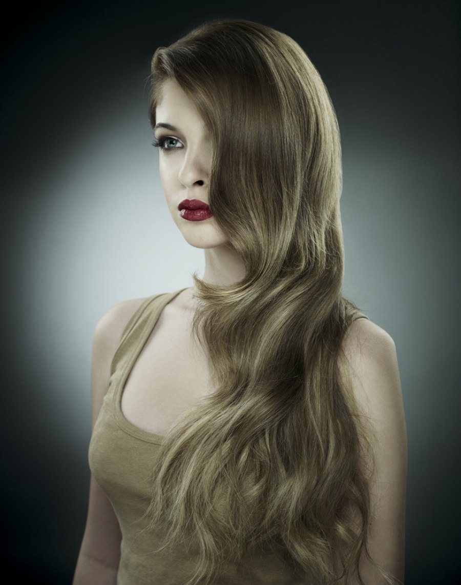 Waist Long Hair Directed Over One Shoulder